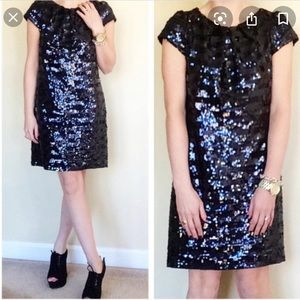 NWOT Milly Black and Blue Striped Sequin Dress